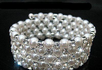 5 ROW BRACELET Diamante Bridal Wedding White Faux Pearl Bling Crystal Bangles UK