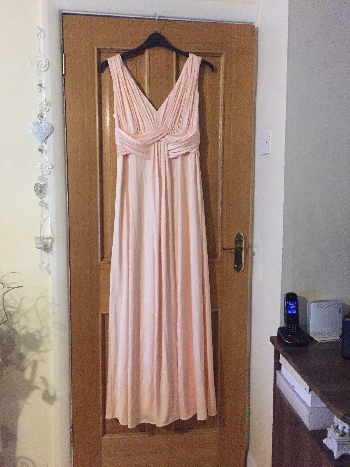 NUOVO DEBENHAMS rosa Taglia 10 Maxi da sera da sposa abito greco