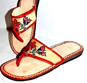 5628ece249f4e Mexico huarache sandal Tan brown leather women flip flop Butterfly ...