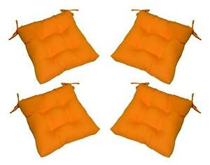 Set Of 4 Outdoor Solid Tango Orange Tufted Patio Chair Cushions