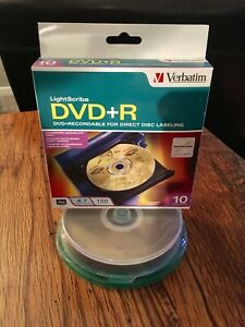Verbatim-LightScribe-DVD-R-16X-4-7GB-10-PK-New-Open-Box-Sealed-discs