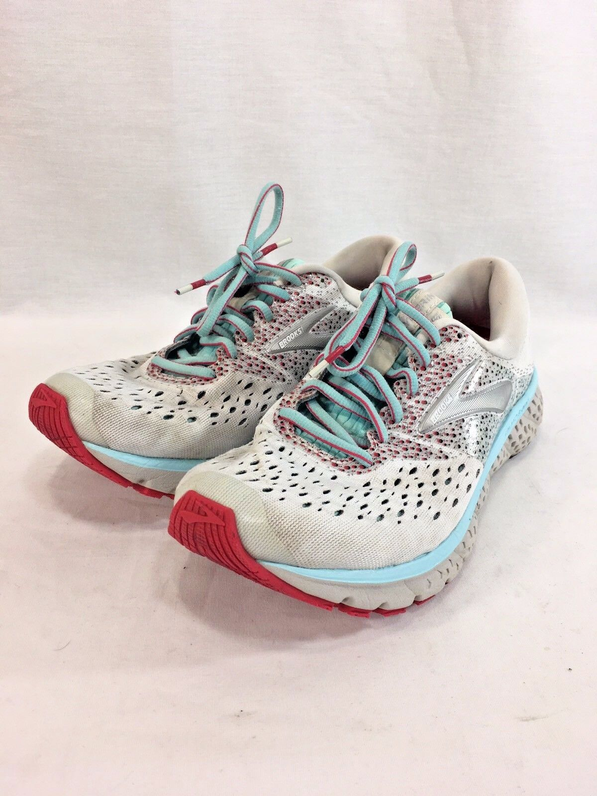 Brooks Glycerin 16 Sneakers shoes Womens 8 M White Pink bluee Lace Up Running