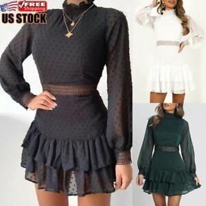 Women-Long-Sleeve-Lace-Mini-Dress-Ladies-Turtleneck-Party-Cocktail-Ruffled-Skirt