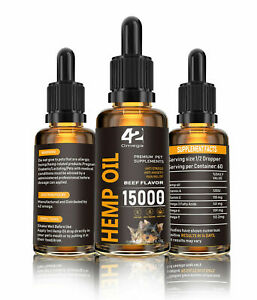 Hemp-Oil-for-Dogs-Cats-Organic-15000-MG-Beef-Flavor-Value-Size-Bottle-60ML