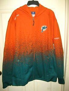 NFL-Reebok-Miami-Dolphins-Full-Zip-Hoodie-Sweater-Sweatshirt-Jacket-Size-Large-L