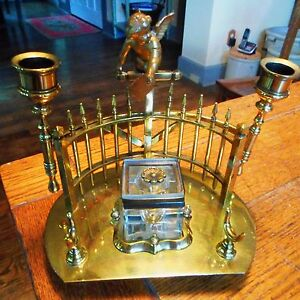 Vintage Art Deco Nouveau Brass Cherub Candle Inkwell-Fold ...
