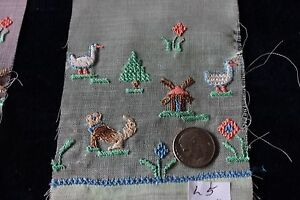 3 Antique (1920s) Swiss Hand Embroidered Samples On Batiste~Dogs,Birds~Dolls