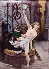 Exquisite Antique French Enamel Nude Lady Masked Man Superb Enamel Artist Signed