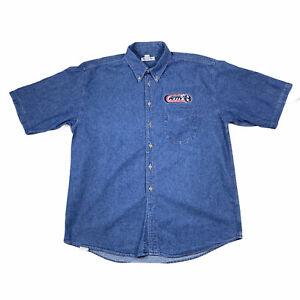 Sea Palms Richard Petty Nascar Mens Long Sleeve Button Down Denim Shirt XL