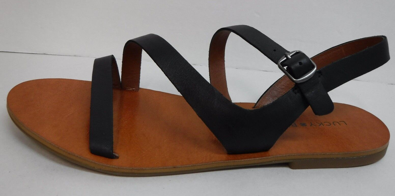 Lucky Brand Size 7.5 Black Leather Sandals New Womens shoes
