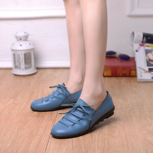 Womens Casual Buckle Moccasin Gommino Pointed Toe Low Heel Comforty Shoes