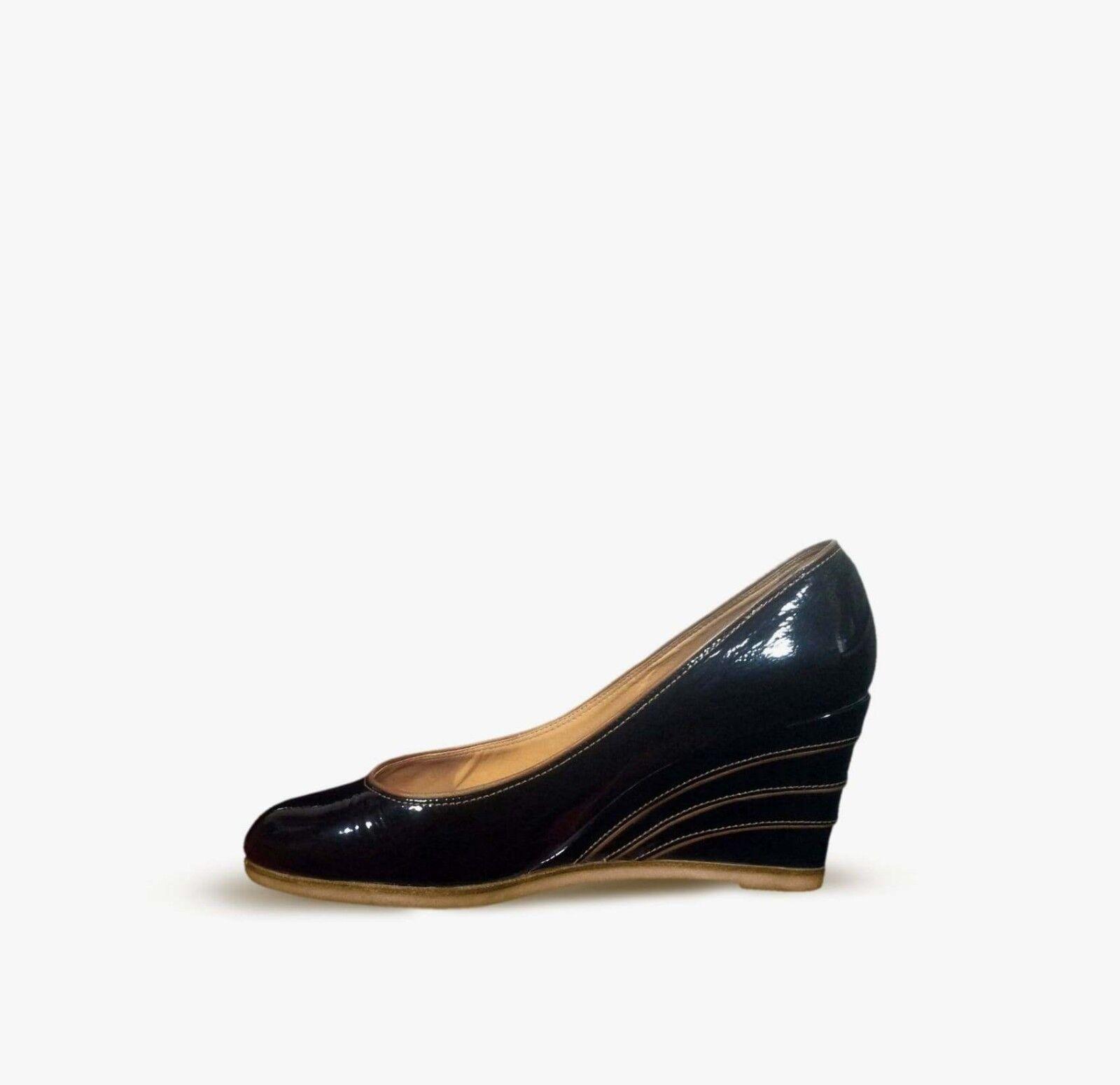 SALVATORE FERRAGAMO Women Wedge shoes Size 41 Formal Black Lackered shoes Sz 11