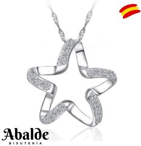 Collar-Colgante-Joya-Mujer-Estrella-Brillante-Plata-Moda-Regalo-ideal-Novia