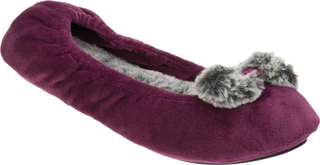 Dearfoams Aubergine Purple Velour Ballerina Pom Pom Memory Foam Slippers