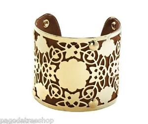 New-Suedette-Fabric-amp-Gold-Metal-Cuff-Bangle-in-Black-or-Blue-or-Brown
