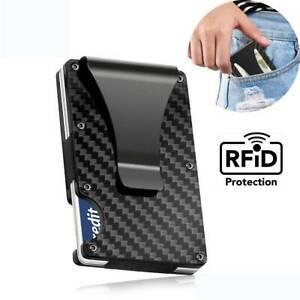 Men-039-s-Slim-Carbon-Fiber-Credit-Card-Holder-RFID-Blocking-Metal-Wallet-Money-Clip