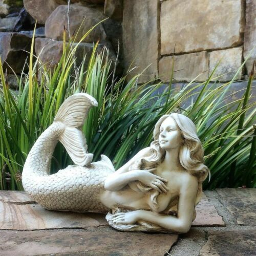 3 Piece Mermaid Statue Set ~ Garden Sculpture Figurines Detailed Nautical Decor