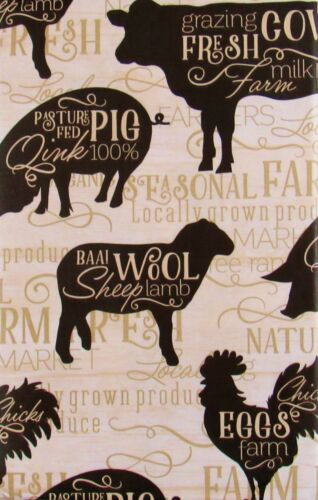 Pigs Farmer/'s Market Cows Sheep and Chickens Vinyl Tablecloth Various Sizes