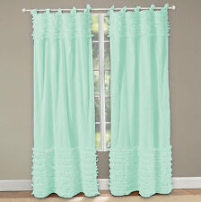 Top & Bottom Horizontal Multi Ruffle Curtains 2-Panel Tie Tab ALL Color & Size
