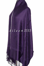 Stunning Pashmina & Silk Paisley Shawl~Dark.Purple