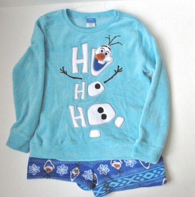 Frozen Olaf 2 PC Plush Pajama PJ Set Shorts Shirt Women L 12-14 ... 5fc055a19