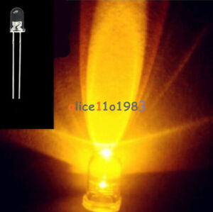 100pcs YELLOW F3 3MM ROUND Water Clear LED Light