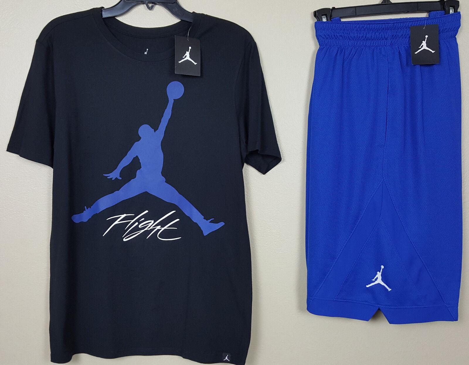 Nike jordan volo completo camicia nera   pantaloncini blu reale rari (dimensioni medie)