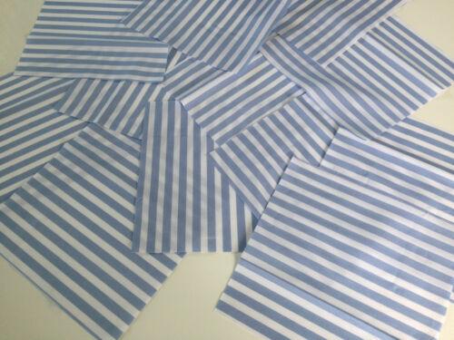 """12 X Candy Stripe Azul Polialgodón 8/"""" o 20 cm Patchwork Cuadrados//piezas de tela"""