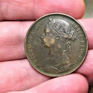 1881-H-Great-Britain-Penny-Victoria-KM-755-Extra-Nice-Antique-Bronze-Coin