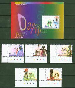 Angola-2001-Tanz-Trachten-Musik-Traditionelle-Taenze-Nr-1648-52-Block-97