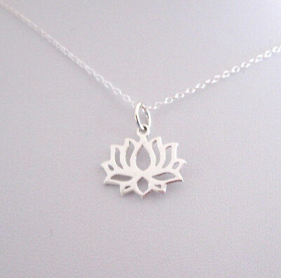 925 Sterling silver cutout LOTUS FLOWER pendant with chain, yoga necklace