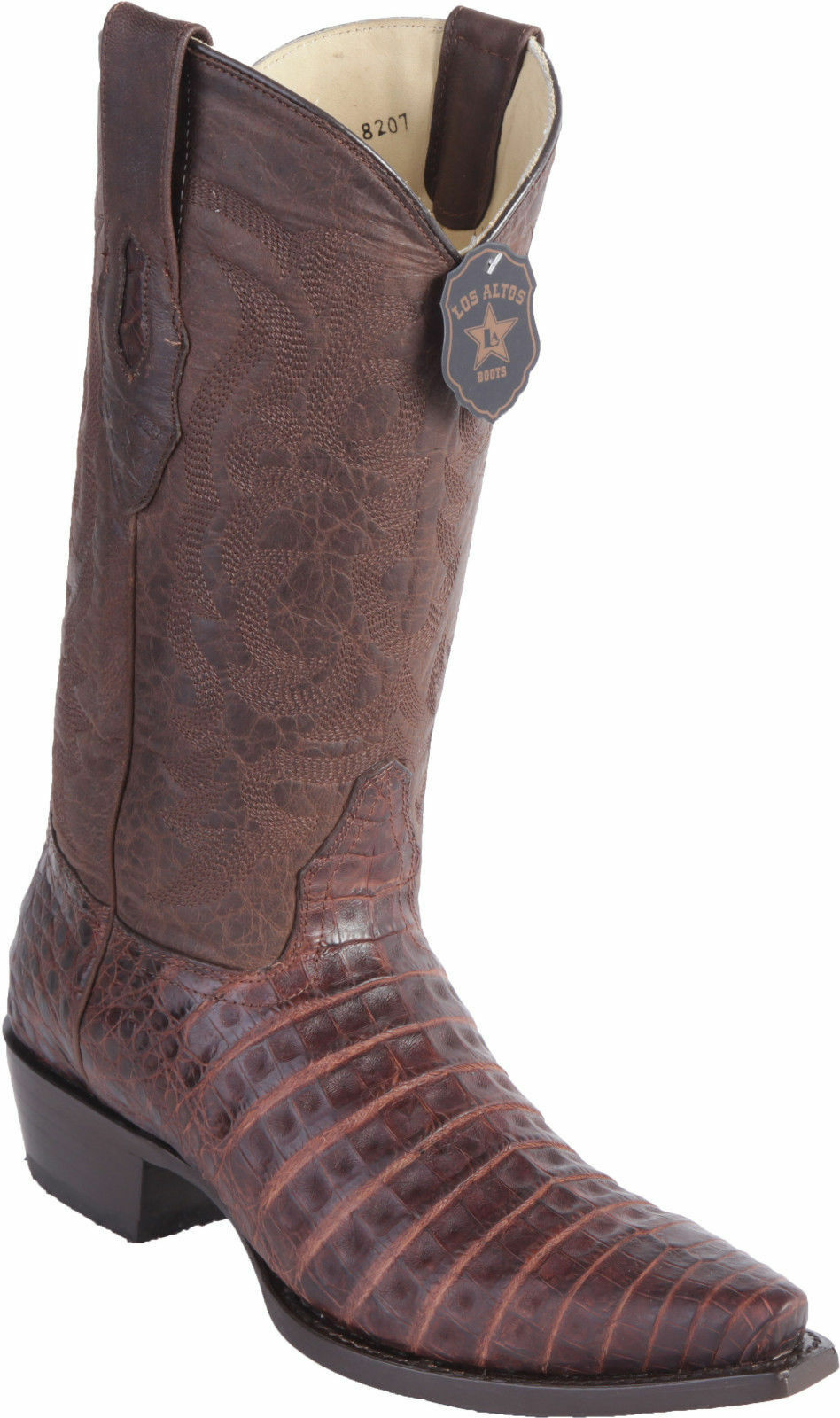 Los Altos Genuine BROWN CROCODILE CAIMAN Belly Snip Toe Western Cowboy Boot EE