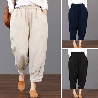 UK 8-24 Women Retro Stripe Elastic Waist Wide Leg Cropped Trousers Harem Pants