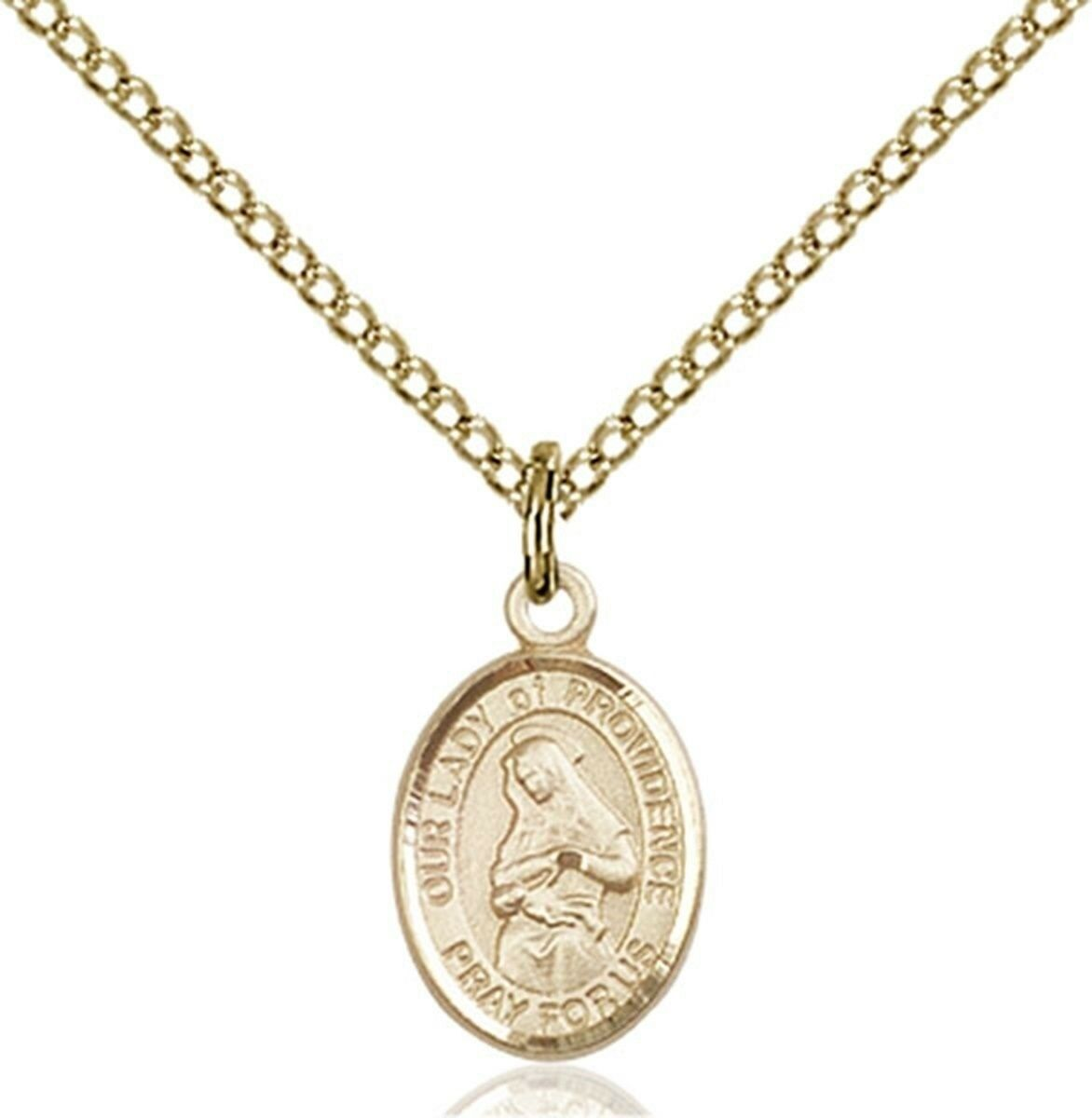 14KT gold Filled Our Lady of Providence Charm Medal, 1 2 Inch