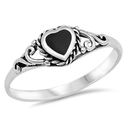 Heart Black Onyx Promise Ring .925 Sterling Silver Band Sizes 4-10 NEW
