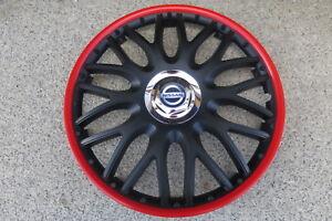 4 Alu-Design Radkappen 14 Zoll Orden black roter Rand  für Nissan