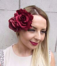 Large Double Burgundy Red Rose Flower Hair Clip Rockabilly 1950s Fascinator 2960