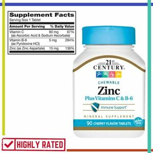 ZINC Chewable with Vitamin C B6 Mineral Supplement Cherry 90 Count 21ST CENTURY