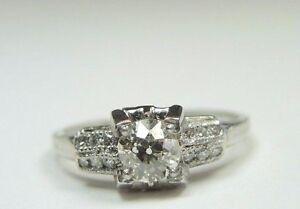 Details about Antique Art Deco Vintage European Diamond Engagement Ring  Platinum Ring EGL USA