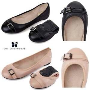 b62ad37583a La imagen se está cargando Butterfly-Twists-Ella-Plegable-Bailarinas -Color-Carne-Zapatos-