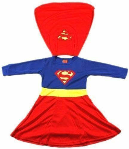 NEW Sz 2~12 COSTUME SUPERGIRL PARTY SUPERHERO KID GIRLS DRESS TOP PRETEND TOY D