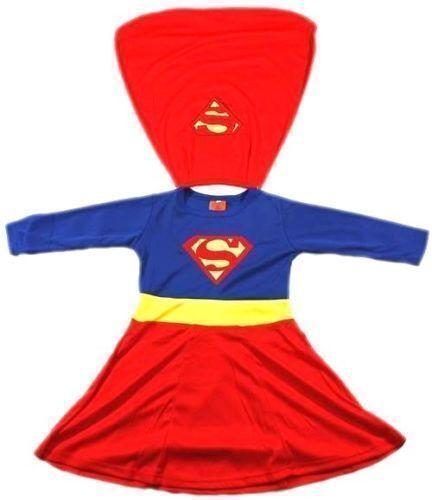 NEW Sz 2~12 COSTUME SUPERGIRL PARTY SUPERHERO KID GIRLS DRESS TOP PRETEND TOY D