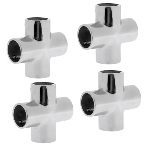 4X 316 Stainless Steel 90 Degree 4 Way Boat Hand Rail Fitting for 25mm Pipe