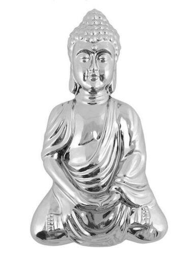 Medium Chrome Effect Meditating Buddha Wall Plaque