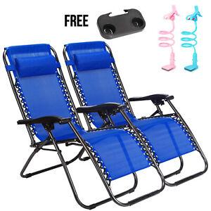 2-Zero-Gravity-Reclining-Chairs-Sun-Beach-Camping-Folding-Lounge-W-Phone-Holders