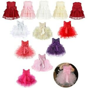 Baby-Girls-Kids-Bowknot-Lace-Dress-Baptism-Pageant-Wedding-Flower-Girl-Dresses