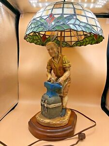 Tiffany-Style-Studio-Lamp-with-Faux-Stained-Glass-amp-Blacksmith-Figurine