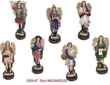 "7 Archangels 8"" Sculpture Complete Siete Arcangeles 8""New Material Resin in Box"