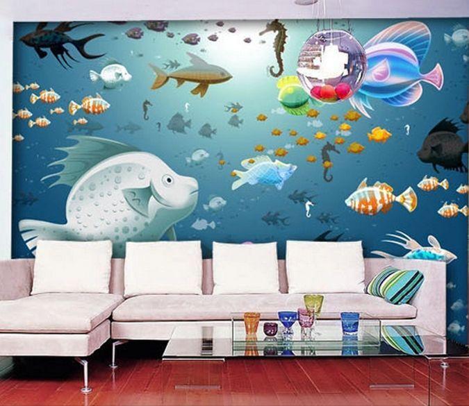 3D Eau Poisson 25 Photo Papier Peint en Autocollant Murale Plafond Chambre Art