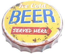 Blechschild Kronkorken XXL Kronenkorken Ice Cold BEER Bier Hausbar Nostalgie